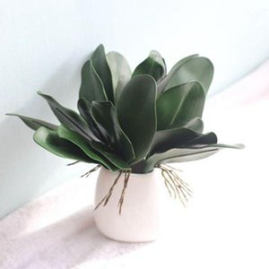 1 UNID Artificial Verde Mariposa Orquídea Hoja PE Flower Flower For Home Body Fiesta Decoración Real Touch Hojes1