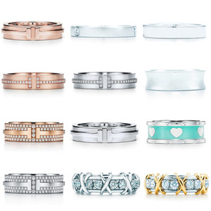 tiff sterling silver plain ring diamond double T ladies favorite Christmas gift jewelry China wholesale
