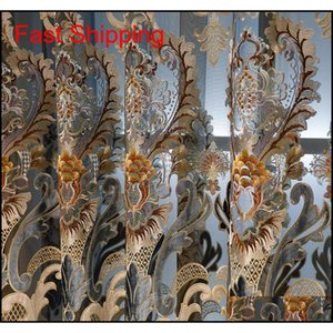 European Niel Water-soluble Embroidery Semi-shading Curtains For Living D jllgcc yummy_shop