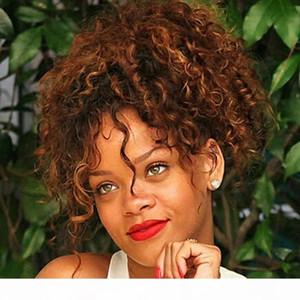 Ponytail di capelli ricci umani Ponytail African American Breve Afro Afro Kinky Facciata con cornice con coulisse Sfoglia Pony Coda Capelli Estensioni Miele Blond 27 # Colore