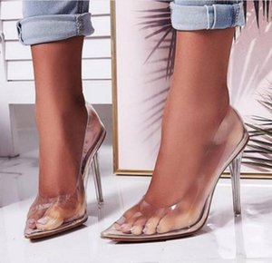 2020 Summer Sexy Women Close Pointed Toe Pumps PVC Clear Transparent Ultray High Heel Stilettos Wedding Dress Party Shoes