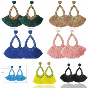 Tassel Earrings Shining Fashion For Women Boho Teardrop Earring Handmade Big Drop Dangle Jewelry Party Gifts Pendant Free Shipping OWD2115