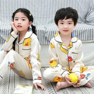 الدافئة أطفال جديد بيبي بوي فتاة الحرير الحرير بيجامة مجموعة ملابس الخريف الشتاء الحيوان نوم Homewear الأطفال منامة ل-Y
