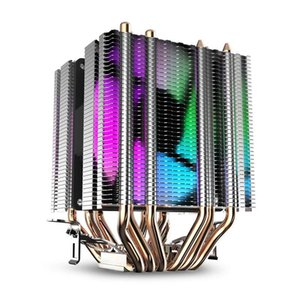 Cpu Air Cooler 6 Heat Pipes Twin-Tower Heatsink With 90Mm Rainbow Led Fans For I n t e l 775 1150 1155 1156 1366