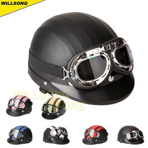 Open Face Half Helmet Goggles Scooter Scarf Bicycle Travel Retro Vintage Helmets For - Motorcycle Accessories
