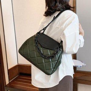 PU Lattice Bag Fashion Women's Bag Tote New Leather Large Quality Chain Designer Handbag Capacity High Shoulder Messenger 2021 Hlbqp