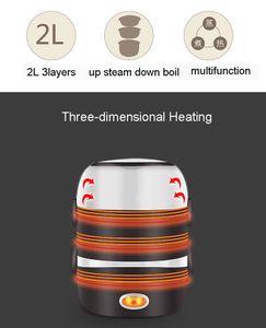 Freeshipping Mini elektrischer Reiskocher Edelstahl 2/3 Schichten Dampfer Tragbare Mahlzeit Thermal Heizung Lunchbox Nahrungsmittelbehälter-Wärmer