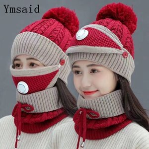 Fashion Winter Hat&Scarf&Mask Set For Women Girls Warm Beanies Breathe Scarf Pompoms Knitted Caps And Scarf Mask 3 Pieces Set 201008