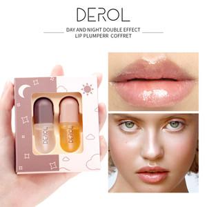 DEROL 5.5mlx2 Day Night Volumising Lips Plumper Lip Fine Lines Mask Long Lasting Moisturizer Care Lip Oil Sexy Plump Serum