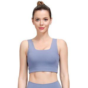 Sport Underwear Tank Tops Women Workout Bra Push Up Halter U-Shape Naked-feel Nylon Solid Gym Bra Athletic Running Yoga Crop Top