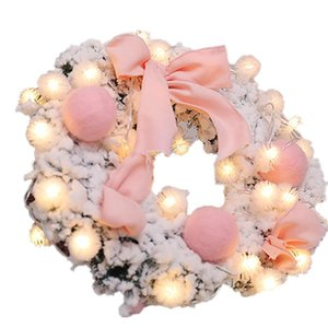 Mini Desktop Decoration Colored Balls + Warm Pendant Wreath Pendants Ornaments Door Hanging Pink Christmas Garland Celebration