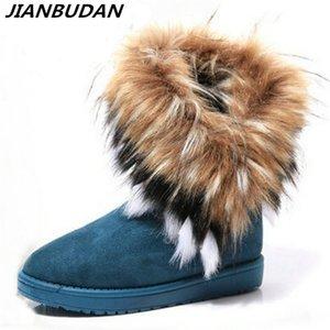 Jianbudan высокие искусственные женщины имитация Fox Fur плоский снег зима теплые плюшевые хлопковые сапоги 201028