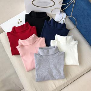 100% coton Bébés filles Automne Hiver à col roulé enfants Vêtements enfants garçons manches longues fond Chemises Fille T-shirt chaud de Undershirts