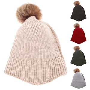 Winter Hats Children Cute Solid Color Thick Warm Knitted Beanie Hat Pompom Skull Cap High quality Skullies Beanies 5 Colors