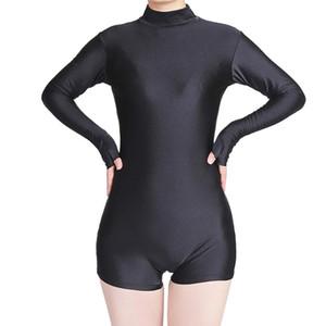 2021 adultes Danse Gymnastic Unitard à col roulé à manches longues femmes de cou avec le pouce Biketards Costume court ballet Unitards Gymnastique costume de yoga