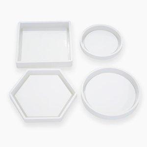Moldes de silicona del molde de fundición Crystal Clear epoxi Resina de silicona líquida moldea DIY flor de fondo de los utensilios del té Coaster GWD2473
