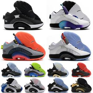 J35 XXXV centre de gravité Bayou Garçons ADN Hommes Chaussures de basket Sport Sneaker Fragment x 35 Jumpman Sport Bleu Sliver Noir Entraîneur