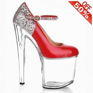 Sexy Mixed colors Flash Bling Buckle strap Crystal Thick platform 20cm High heeled shoes 8 inches Pumps Cross dressing
