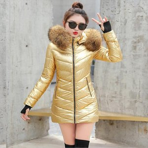 Womens Winter Jacket Fashion fur collar Metal Golden Silver Bright Hooded Coat Warm Cotton Padded Long Parkas new S 3XL