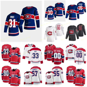 2021 Reverse Retro 몬트리올 Canadiens Jerseys Ouellet Xavier Petry Jeff Poehling Ryan 가격 캐치 커스텀 스티치