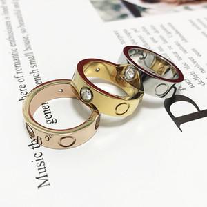 2020 Vendita calda Donne Men Couple Anello gioielli 4mm 5mm 6mm argento oro rosa oro colore titanio anelli di amante dell'acciaio in titanio con scatola