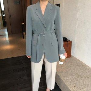 Jacket female 2020 vintage boutique narrow strap gray-green jacket