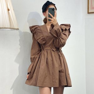 [EWQ] 2020 Spring New Sweet Long Sleeve V-Neck Flare Sleeve Women Dresses Korea Style Ruffles Shangp Ladies Shirt Dress QZ44100 A1105