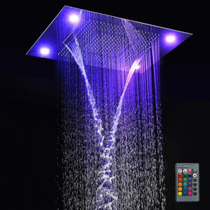 "31"" Large Rain Shower Set cColorful Shower Head Faucet Set 600*800mm Stainless Steel Rainfall Waterfall Rain Shower Head+ Remote BWD277"