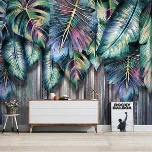Custom 3D Mural Nordic Tropical Plants Green Leaves Modern Living Room Sofa TV Background Wall Painting Decorative Wallpaper