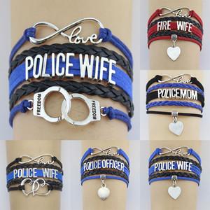 Бесконечность Любовь Полиция / огонь жена Мама сотрудник Свобода Двойное сердце Шарм Wrap браслет Веревка Женщины Мужчины Браслеты ювелирные изделия