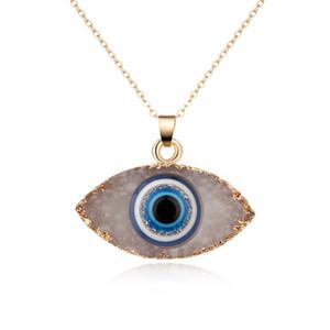 Nueva piedra natural Ojos malvados Collar colgante para las mujeres Cadena larga Cristal Turco Collares de ojos de niñas Joyería