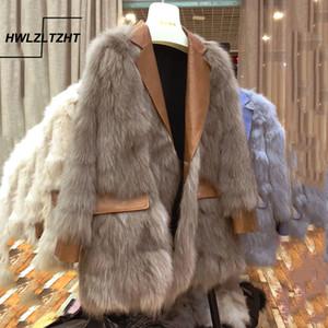HWLZLTZHT New Plus Size Women's Faux Fur Coat Winter Warm Office Jacket Women Long Sleeve Women's Winter Sheepskin Coat 201017