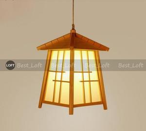 Wood House Sombra pingente luminária Cord japonesa moderna Handmade Tatami suspensão do teto Lâmpada de Mesa de Jantar Quarto E27 Bulb