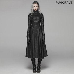 Punk Stage Performance связывает Женщина Длинной Шинели Gothic Классического черного Zipper Stand Collar Maxi Trench куртка PUNK RAVE WY-1065XCF