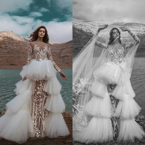 See Through A Line Wedding Dresses 2021 Long Sleeve Lace Appliques Wedding Gowns with Detachable Train Sexy Beach robe de mariée