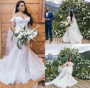 2021 Plus Size Mermaid Wedding Dresses Elegant 3D Floral Applique Sweep Train Off the Shoulder Wedding Bridal Gown vestido de novia