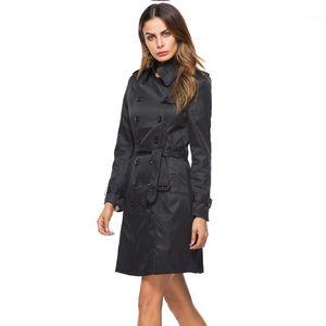 Женщины женские пальто пальто женщины зима модный повседневный тонкий подходящий ремень длинный двухбортный ветровая куртка женский1