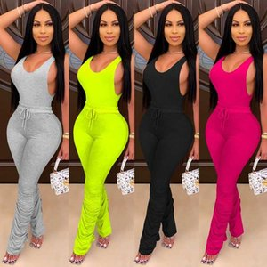 Sexy Women's Casual Bodysuit Low-cut Sleeveless Top Tight Lace Up Long Pants for Summer and Autumn