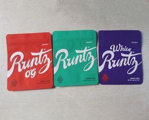 runtz packaging bag 3.5 mylar smell proof zipper resealable dry herb edibles bag white runtz og with label sticker