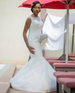 Retro African Lace Mermaid Wedding Dresses Appliques Lace Sleeveless Vestidos de Novia Straps Buttons Back Bridal Gowns Robe de Mariage 2021