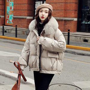 Janveny Aşağı Ceket Kadın Kış Natürel Yaka 2020 Gevşek Puffer Ceket% 90 Beyaz Ördek Aşağı Coat Bayanlar Tüy Giyim