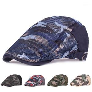 Homens Mulheres Coloridas Camuflagem Camuflagem Beret Cap Hollow Respirável Malha Verão Ajustável Cabbie Newsboy Dirigindo Caçando Hat1