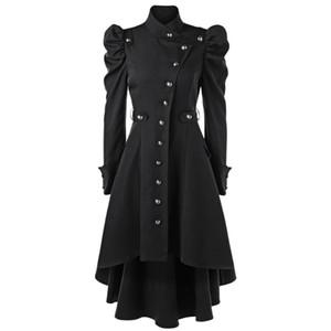 Wipalo Gothic Frauen Winter Puff Schulterknopf Up Dip Saum Trench Mantel Mode Stehkragen Hohe Taille Oberbekleidung Mantel XXL