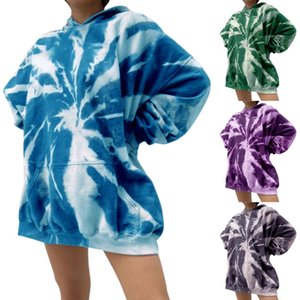 Frauen lose Tie-Farbstoff-gedruckte Hoodies Pullover Lässige Langarm Sweatshirts Tops Weibliche Bluse Damen Casual Sweatshirt Hoodies