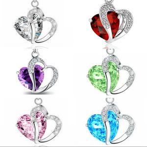 Zirkon Kristal Erkekler Kadınlar Kolye Takı Aşk Kalp Şeklinde Lady Collarbone Zincir Alaşım Moda Kazak Kolye Kolye 1 4QF J2B