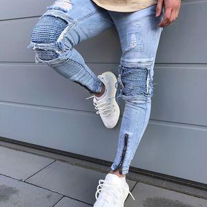 Nuevo Hombre Hip Hop Romificado Jeans 2020 Agujero Destruido Skinny Biker Jeans Zipper Decorativo Luz Azul Denim Pantalones de mezclilla