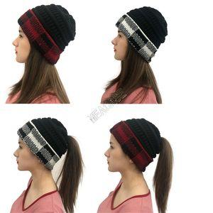 Invierno Cálido Punto de caballo Ponytail Beanie Hat Womens Slouchy Cuff Caps Caps Buffalo Plaid Plaid Beories Brieds DISEÑO KNIT SKI Headwear D102709
