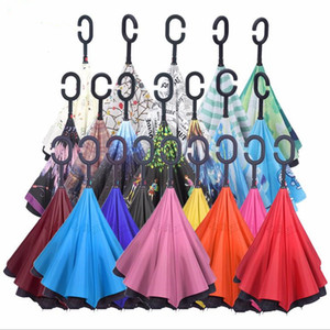 C-Hand Reverse Umbrellas Double Layer Inverted Umbrella Windproof Reverse Inside Out Stand Windproof Umbrella Car Inverted Umbrellas DHC3012
