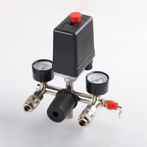220V Air Compressor Pump Pressure Switch Control Manifold Relief Regulator Control Valve Pressure Gauge 90-125PSI