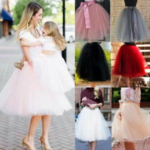 Fashion Women Adult Layers Tulle Skirt Half Princess Girls Ballet Tutu Dance Skirt Ball Gown Partywear Black White Pink